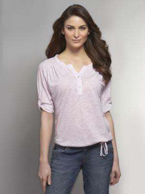 New York & Co. Knit Blend Polka Dot Henley Top