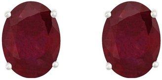 8x6mm Oval Precious Gemstone Stud Earrings, 14KWhite Gold