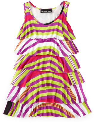 Un Deux Trois Tier Stripe Dress, Multi-color, 4-6X
