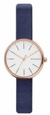 Skagen Analog Signature Rose-Goldtone Leather Strap Watch