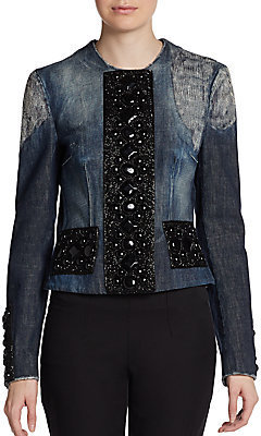 Dolce & Gabbana Embellished & Distressed Denim Jacket