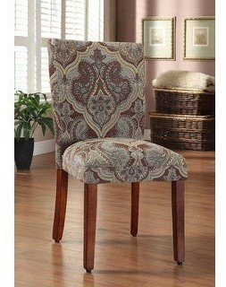 HomePop Blue and Brown Paisley Parson Chairs