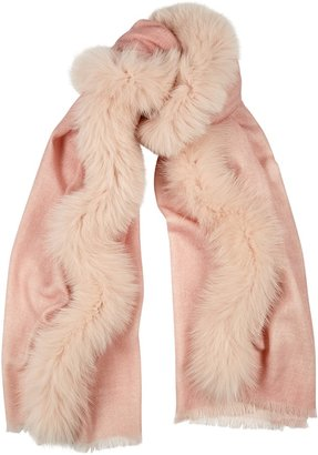 AMA Pure Pink Fur-trimmed Wool Scarf