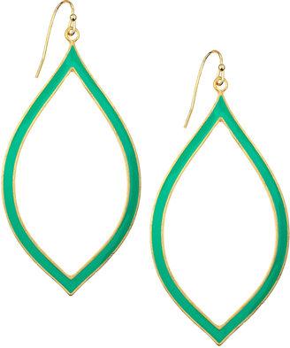 Greenbeads Enamel Marquis Drop Earrings, Turquoise