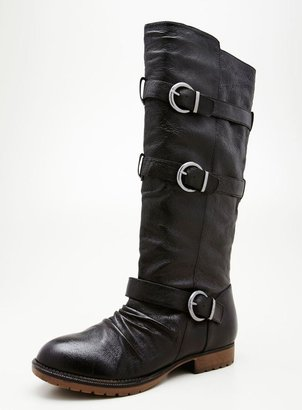 Steve Madden Benny High Shaft Boot With Belting And Buckle Detail
