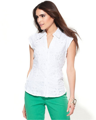 INC International Concepts Petite Shirt, Cap-Sleeve Eyelet