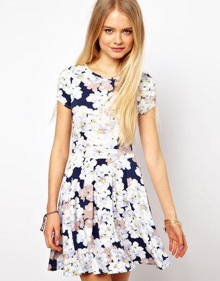 Asos Skater Dress In Pansy Floral Print