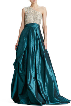 Naeem Khan One-Shoulder Beaded-Bodice Ball Gown