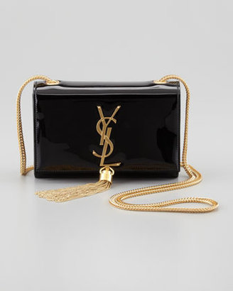 Saint Laurent Cassandre Small Patent Crossbody Bag, Black