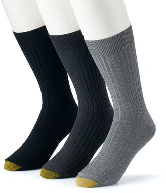 Gold Toe Men's GOLDTOE 3-pack Canterbury Crew Fashion Dress Socks