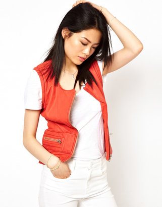 IRO Sleeveless Leather Biker Jacket with Zips
