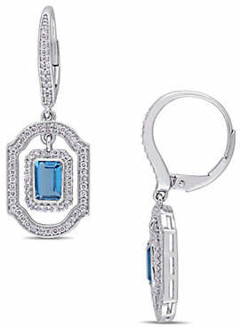 HBC CONCERTO Vault 14K White Gold and Blue Topaz Halo Dangle Earrings with 0.6 TCW Diamond