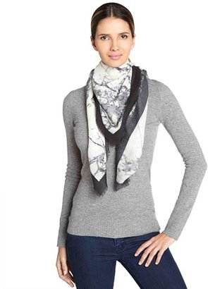 Balenciaga ivory and marbled grey silk-wool scarf