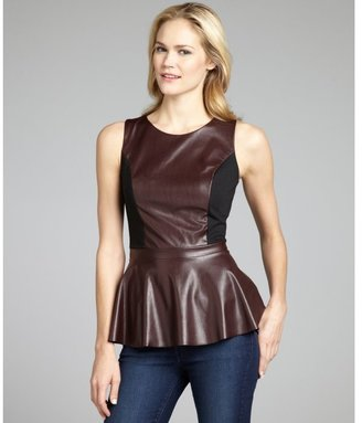 Wyatt burgundy stretch ponte knit and faux leather peplum top