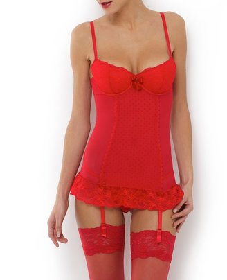 La Redoute Collections Lace Basque and Thong Set