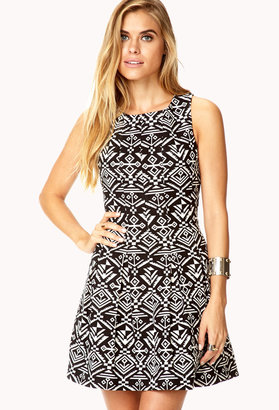 LOVE21 LOVE 21 Fancy Southwestern Pattern Dress
