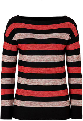 Sonia Rykiel Wool Striped Pullover in Noir/Carmin/Brique