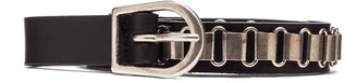 Isabel Marant Memphis Calfskin Leather Belt in Black & Silver