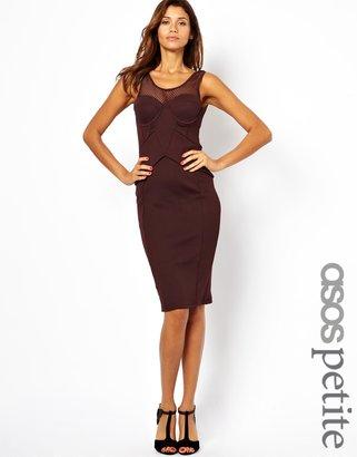 Asos Exclusive Mesh Insert Structured Midi Dress
