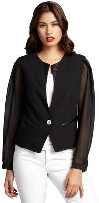 Wyatt black twill faux-leather trimmed chiffon sleeve jacket