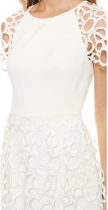 Lela Rose Short Sleeve Peplum Dress
