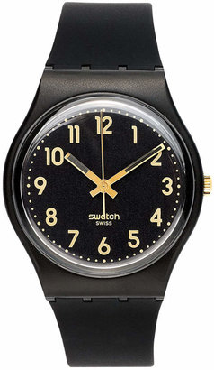 Swatch Watch, Unisex Swiss Golden Tac Black Silicone Strap 34mm GB274 $50 thestylecure.com