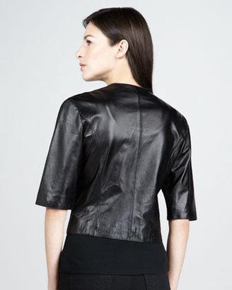 Neiman Marcus Leather Bolero Jacket