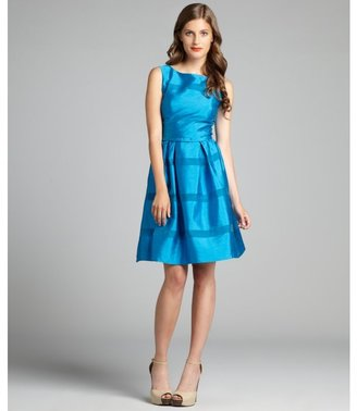 Taylor turquoise shantung style sleeveless party dress