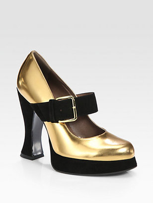 Marni Metallic Leather and Suede Platform Mary Jane Pumps