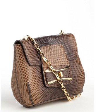 Sondra Roberts lizard taupe leather shoulder strap bag