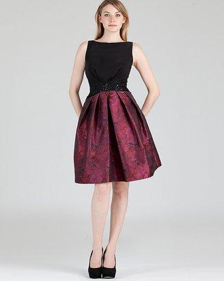 Boutique Beaded Waist Printed Jersey Dress - Sleeveless