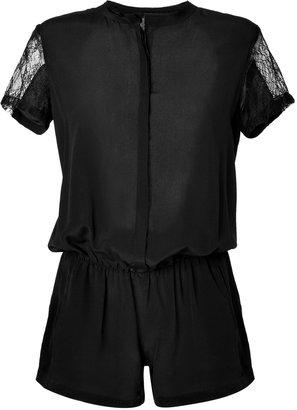 Maje Black Silk Lace Jumpsuit