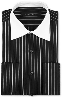 Sean John Dress Shirt, Black and White Pinstripe Long-Sleveed Shirt with White Collar and French Cuffs