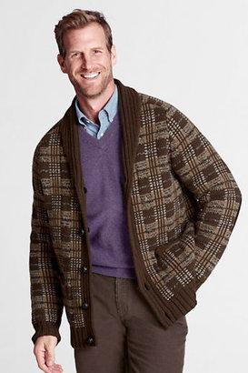 Lands' End Men's Regular Lambswool Shawl Cardigan Sweater