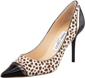 Jimmy Choo Lilo Spotted Calf Hair Pointy Single-Sole Pump