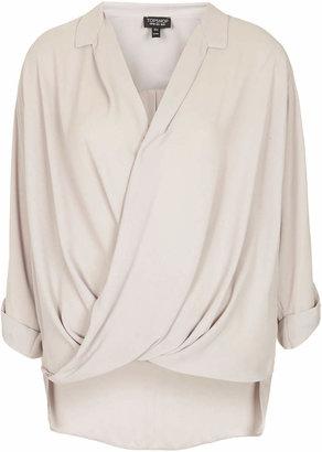 Topshop Formal drape front blouse