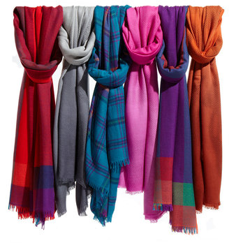 Neiman Marcus Windowpane Merino Wool Scarf, Teal