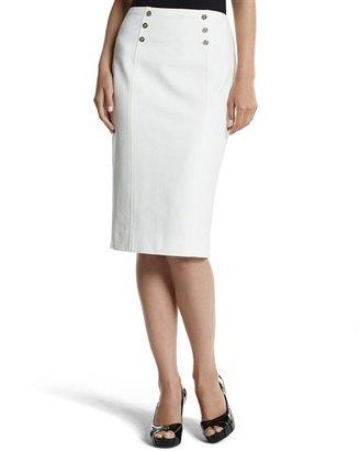White House Black Market Ecru Ponte Pencil Skirt