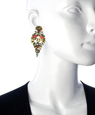 Elizabeth Cole Multi Gemstone Vintage Drop Earrings