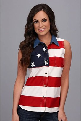 Roper S/L Stars and Stripes Pieced Flag (Red 3) Women's Sleeveless
