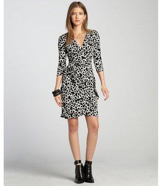 Ivy & Blu black and white three quarter sleeve faux wrap dress