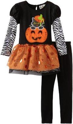 Rare Editions Girls 2-6X Pumpkin Applique Tutu Legging Set