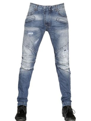 16cm Destroyed Stretch Denim Biker