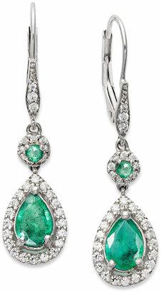 Macy's 14k White Gold Earrings, Emerald (1-3/8 ct. t.w.) and Diamond (1/3 ct. t.w.) Pear Drop Earrings