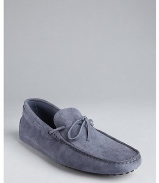 Tod's cadet blue suede 'New Gommini' driving loafers