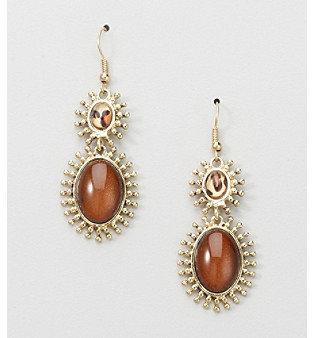 Erica Lyons® Brown Animal Espresso Double Drop Pierced Earrings