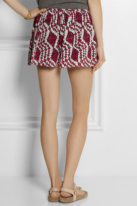 Thakoon Printed broderie anglaise cotton shorts