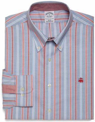 Brooks Brothers Non-Iron Slim Fit Alternating Framed Triple Stripe Sport Shirt