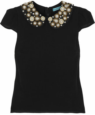 Alice + Olivia Mary embellished stretch-silk top