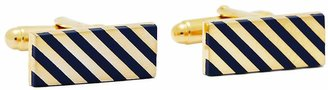 Brooks Brothers Navy and Gold Diagonal Stripe Rectangular Cuff Links
